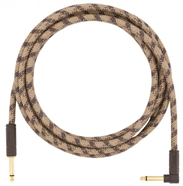 Cable Fender Festival Pure Hemp Instrument Cable, Straight/Angle, 10ft - Brown Stripe