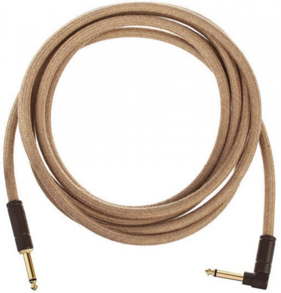 Cable Fender Festival Pure Hemp Instrument Cable, Straight/Angle, 10ft - Natural