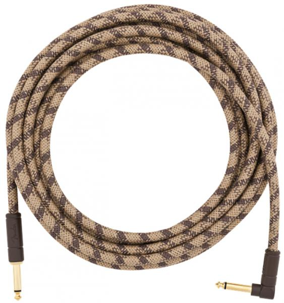 Cable Fender Festival Pure Hemp Instrument Cable, Straight/Angle, 18.6ft - Brown Stripe