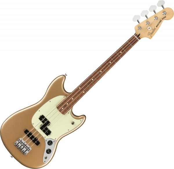 Solid body electric bass Fender Player Mustang Bass PJ (MEX, PF) - firemist gold