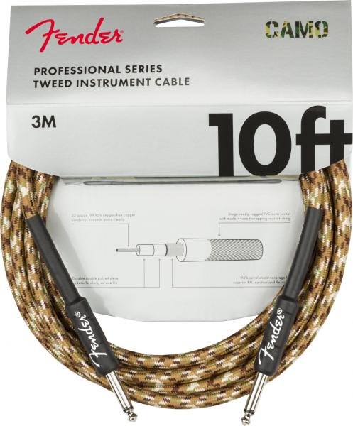 Cable Fender Professional Series Instrument Cable, Straight/Straight, 10ft - Desert Camo