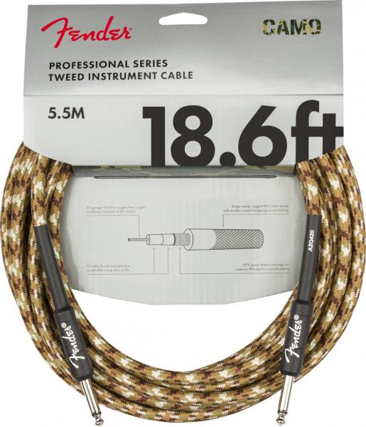Cable Fender Professional Series Instrument Cable, Straight/Straight, 18.6ft - Desert Camo