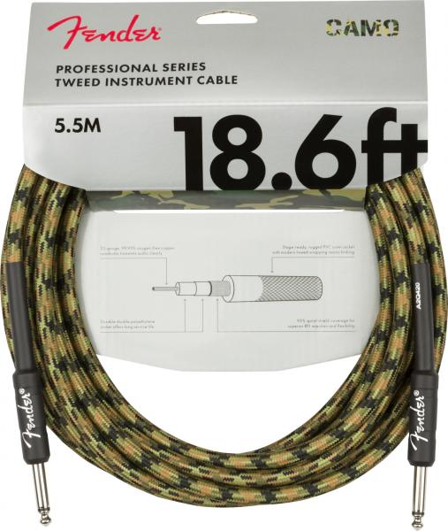 Cable Fender Professional Series Instrument Cable, Straight/Straight, 18.6ft - Woodland Camo