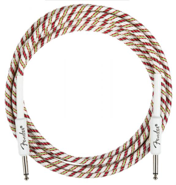 Cable Fender Yuletide Holiday Instrument Cable, Straight/Straight, 10ft - Multi Color