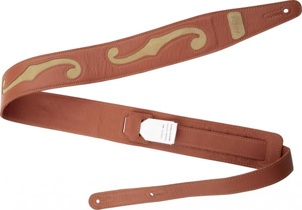 Guitar strap Gretsch F-Holes Leather Guitar Strap 3-inch - Orange & Tan