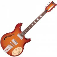 Semi-hollow electric guitar Italia Rimini 6 - Honey sunburst