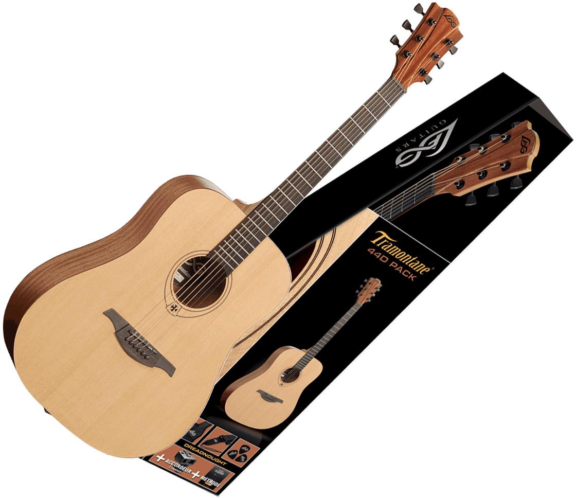 Lag Tramontane T44d Pack Naturel Satin Acoustic Guitar Set