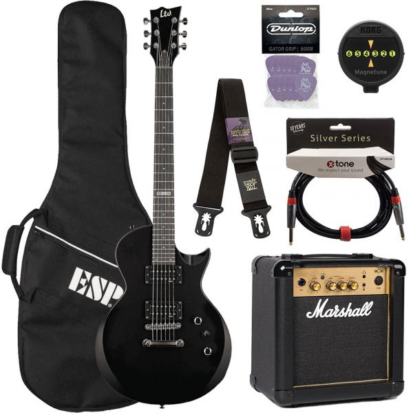 Electric guitar set Ltd EC-10 KIT Pack +Marshall MG10 +Accessories - Black
