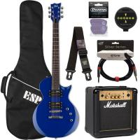 Electric guitar set Ltd EC-10 KIT Pack +Marshall MG10 +Accessories - Blue