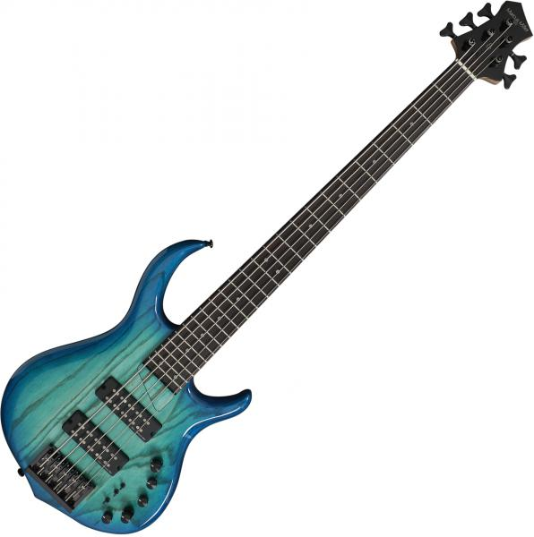Solid body electric bass Marcus miller M5 Swamp Ash 5ST - Transparent blue
