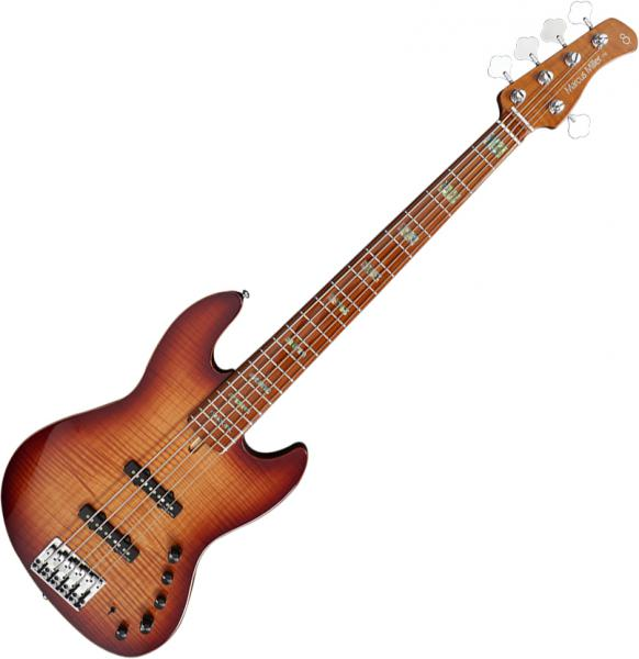Solid body electric bass Marcus miller V10 Swamp Ash 5ST 2nd Gen (No Bag) - Tobacco sunburst
