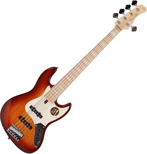 Solid body electric bass Marcus miller V7 Swamp Ash 5ST 2nd Gen (No Bag) - Tobacco sunburst