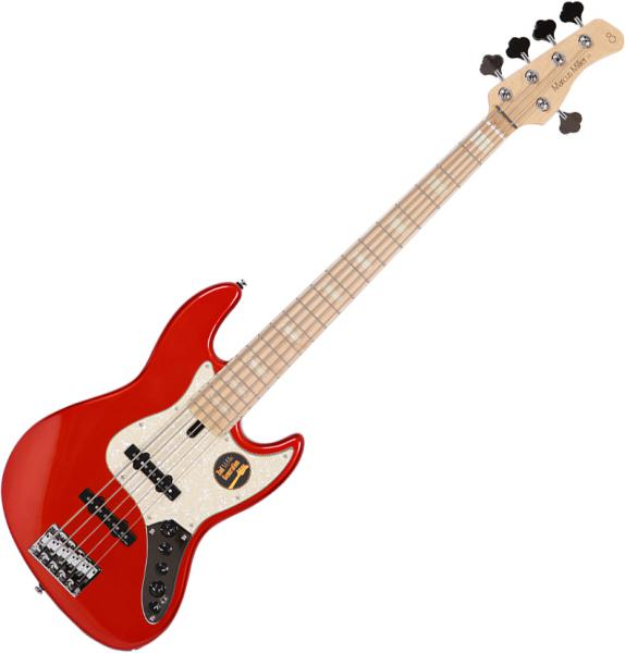 Solid body electric bass Marcus miller V7 Swamp Ash 5ST 2nd Gen (No Bag) - Bright metallic red
