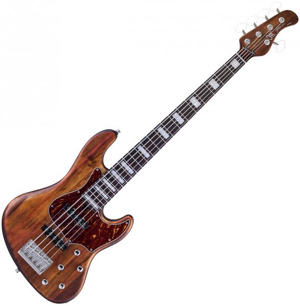 Solid body electric bass Mayones guitars Hadrien Feraud Jabba 5 - Antique brown