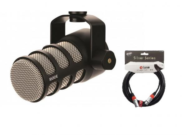 Microphone pack with stand Rode Podmic + Cable XLR XLR X-tone SIlver 3M.