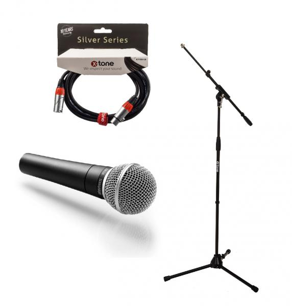 Microphone pack with stand Shure SM58 + Pied perche X-tone  + Câble XLR 3M
