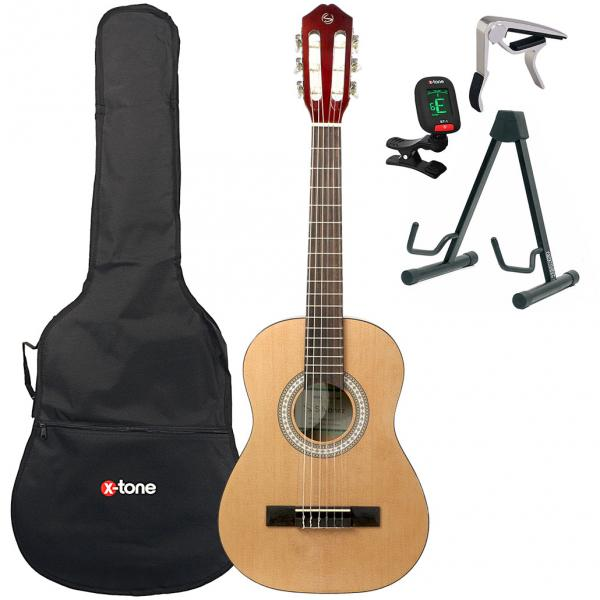 Classical guitar set Silvanez CL-12 NAT + gigbag + tuner + capo + stand - Natural gloss