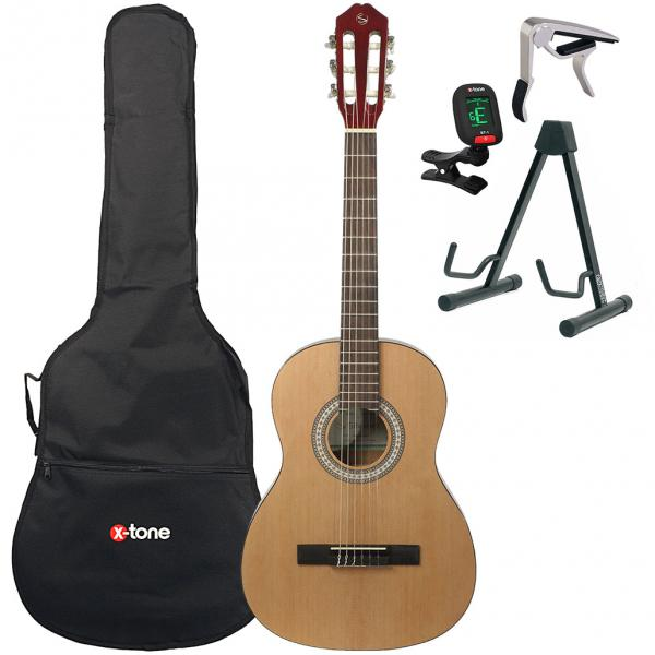 Classical guitar set Silvanez CL-34 NAT + gigbag + tuner + capo + stand - Natural gloss