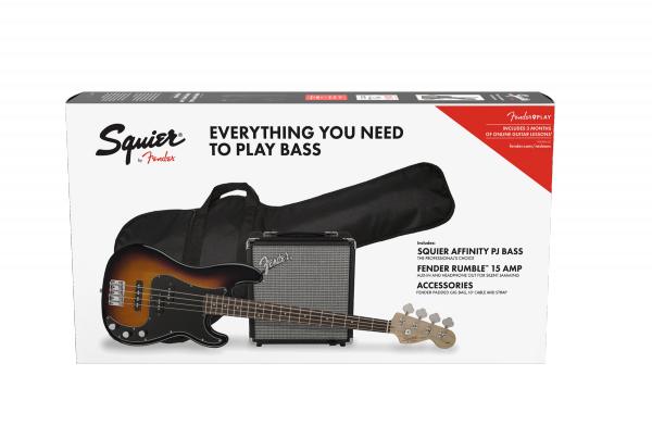 Electric bass set Squier Affinity Series Precision Bass PJ Pack (LAU) - Brown sunburst