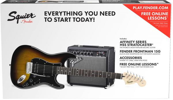 Electric guitar set Squier Affinity Series Stratocaster HSS Pack 2018 - Brown sunburst