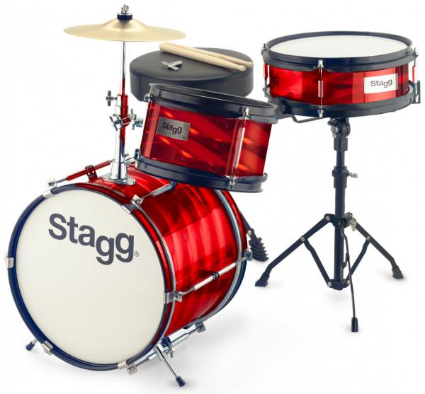 Junior drum kit Stagg Junior Drum Set + Hardware - 3 shells - Rouge