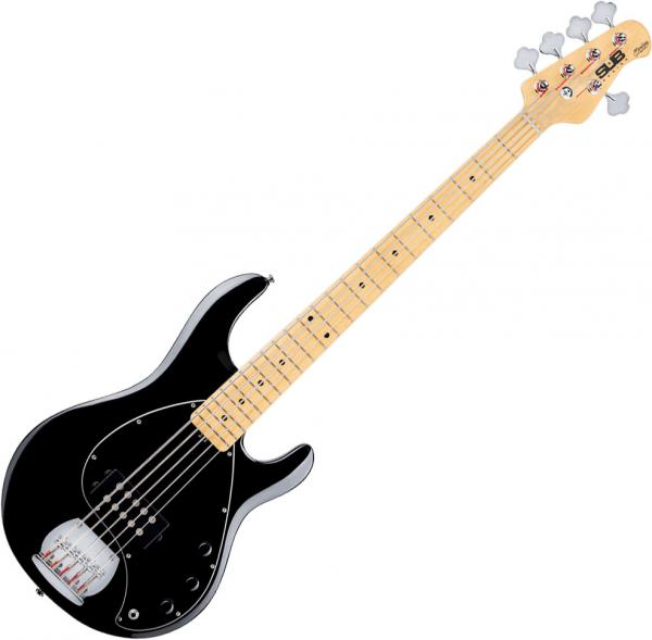 Solid body electric bass Sterling by musicman SUB Ray5 (MN) - Black