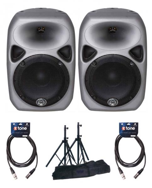 Complete pa system Wharfedale Titan 8 MKII x2 + pieds + câbles XLR 6m
