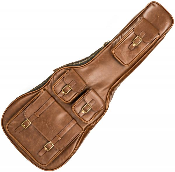 Acoustic guitar gig bag X-tone 2035 FOL-BN Deluxe Leather Acoustic Dreadnought Guitar Bag - Matt Brown