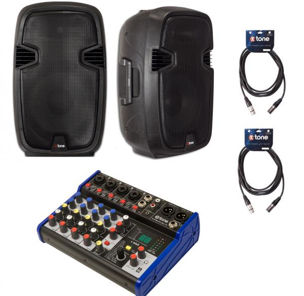 Complete pa system X-tone Bundle SMS-12A Mix8 Dsp