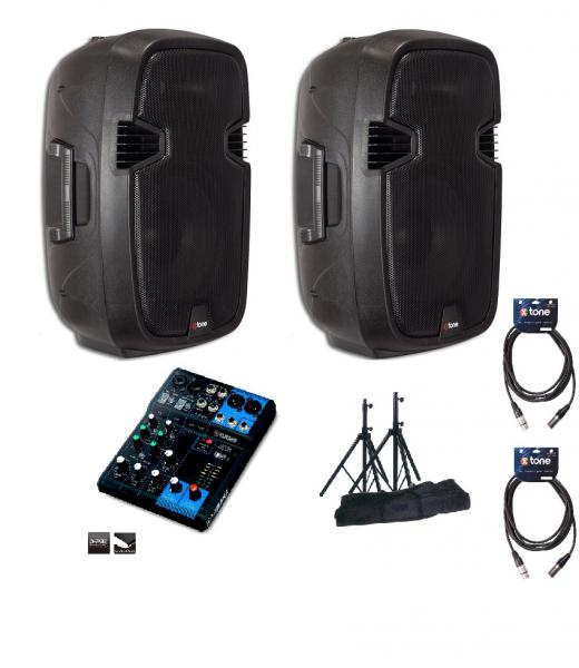 Complete pa system X-tone Bundle SMS-12A Mix6 Yam