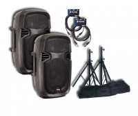 Complete pa system X-tone Bundle SMS-8A (x2) +cables +pieds