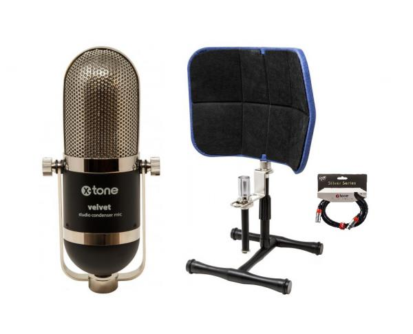 Microphone pack with stand X-tone velvet descreen