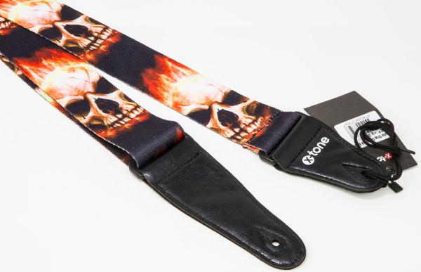 Guitar strap X-tone XG 3101 Nylon Guitar Strap Skull With Flame - Black & Red