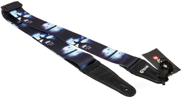 Guitar strap X-tone XG 3104 Nylon Guitar Strap Skull With Crow - Black & Blue